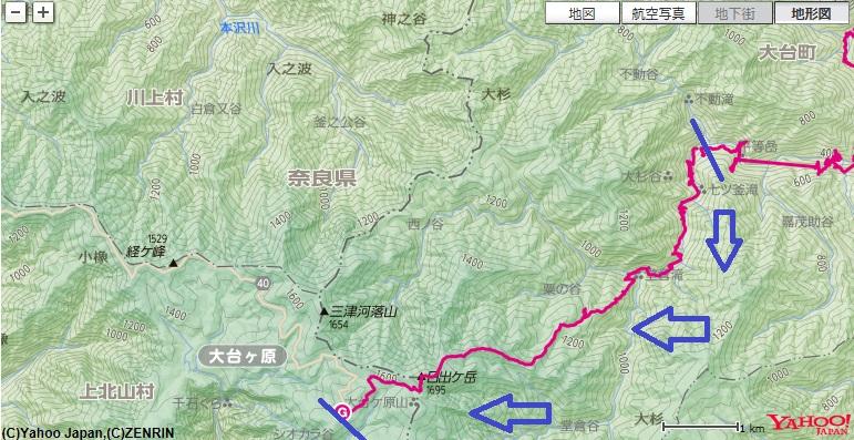 大台ヶ原登山大杉谷ルートで七ツ釜滝~粟谷小屋への登山地図・コース標高差