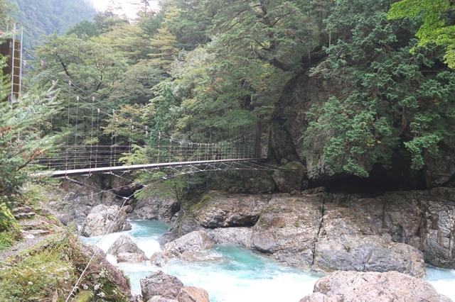 桃の木山の家の正面川と吊橋