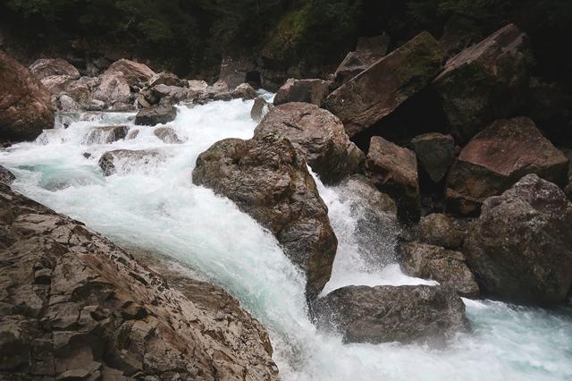 大杉谷ルート川が増水
