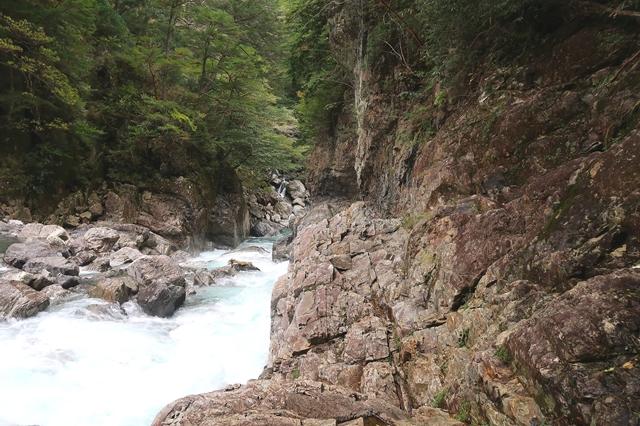振り返っての大杉谷ルート光滝から七ツ釜滝方面