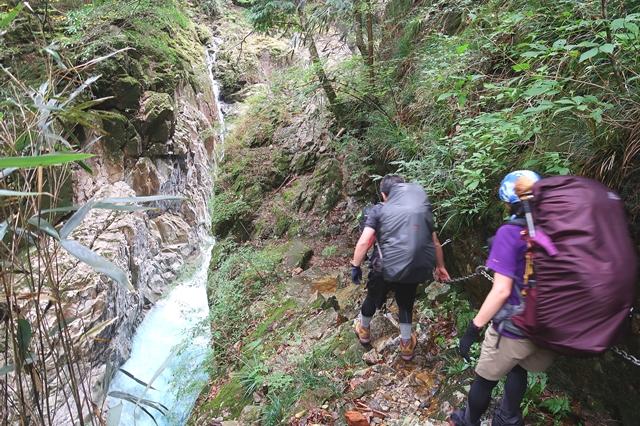 与八郎滝から堂倉滝道が狭く険しく