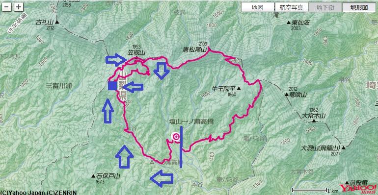 た多摩川源頭の水干・小さな分水嶺作場平駐車場から一休坂ルートで笠取小屋周辺を登山したコースと標高差地図