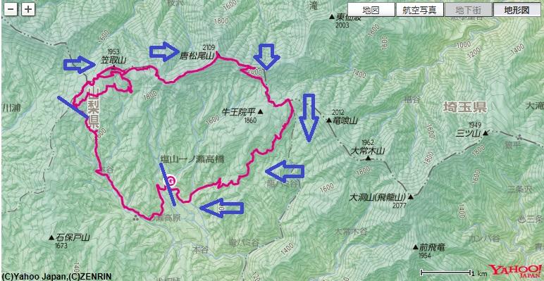 奥秩父笠取山・唐松尾山周辺の登山地図・コース標高差将監小屋まのばしょ