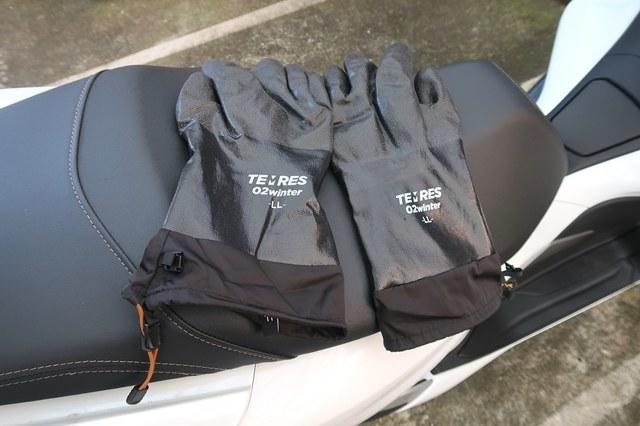防寒テムレス黒色カラーとバイク