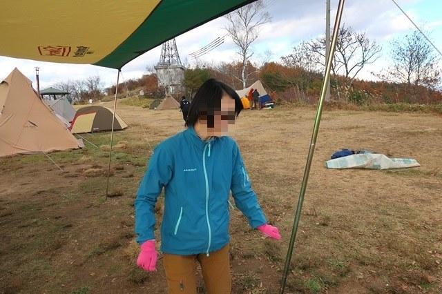 陣馬形山キャンプ場でキャンプした女性