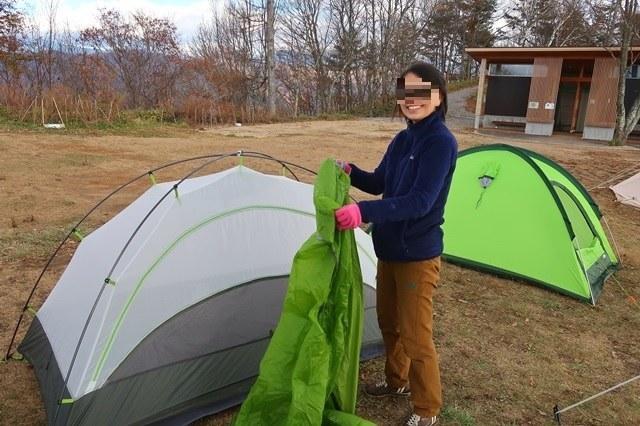 陣馬形山キャンプ場テント設営した様子