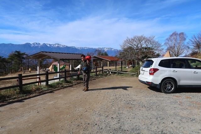 陣馬形山キャンプ場の駐車場