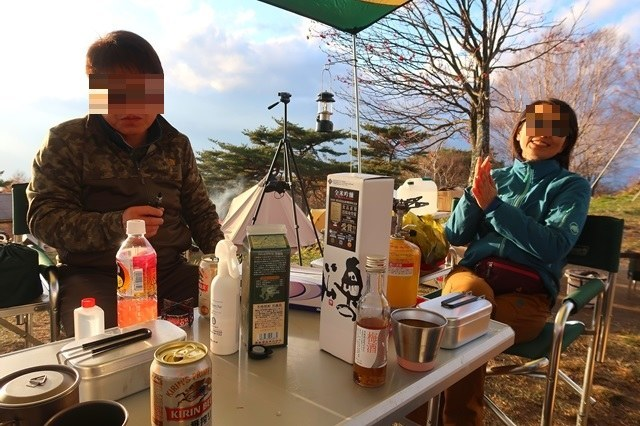 陣馬形山キャンプ場でキャンプ(飲み会)のスタート