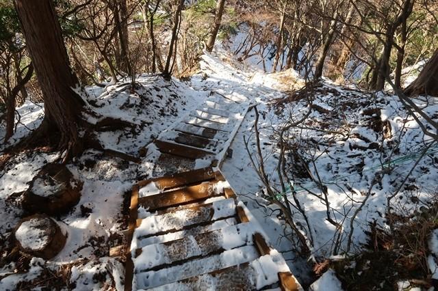 本間ノ頭から円山木ノ頭木の階段が圧雪