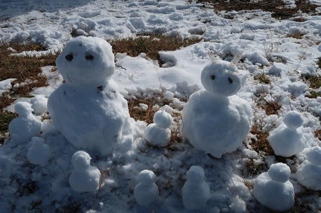 丹沢山の山頂雪だるま
