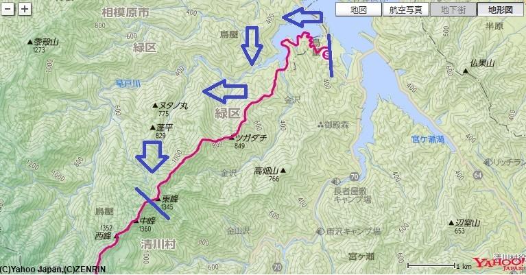 い宮ヶ瀬湖からタロベエ峰・栂立ノ頭(ツガタチ)・鐘沢ノ頭・本間ノ頭へのコースと標高差の地図