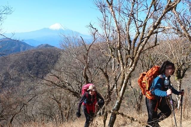 登山中に富士山が見えるのが新鮮