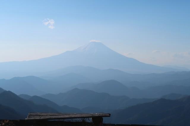 塔ノ岳山頂からの富士山の景色