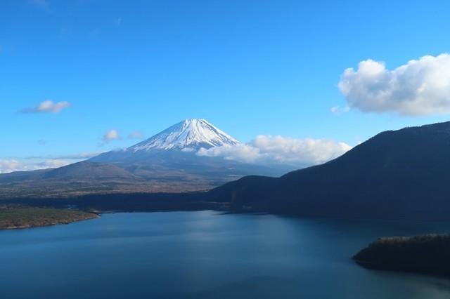 浩庵キャンプ場からの富士山・本栖湖の景色