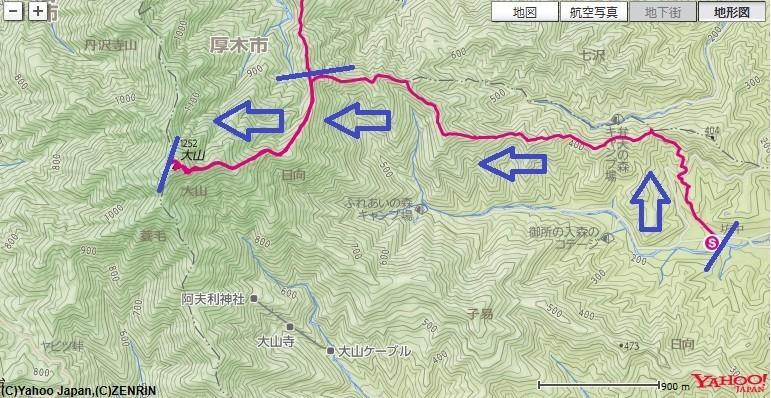 日向薬師から梅ノ木尾根丹沢大山への登山コース、標高差の地図