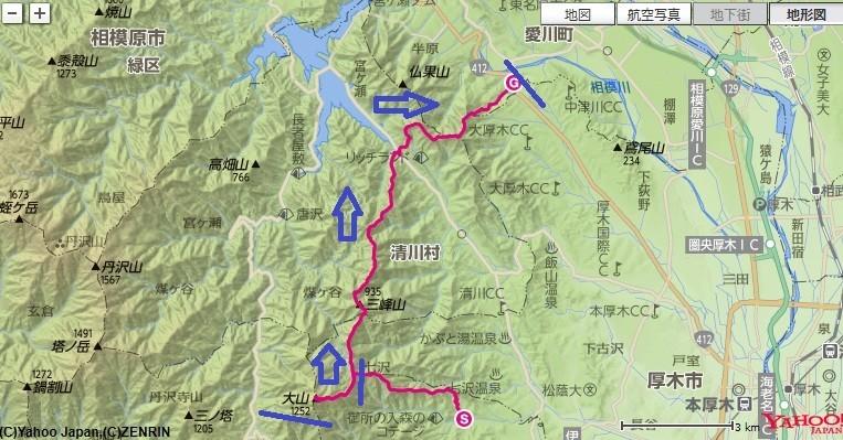梅ノ木尾根からの大山登山と、相州アルプス経ヶ岳への登山コース、標高差の地図