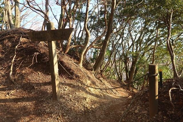 ロープが梅ノ木尾根入口目印