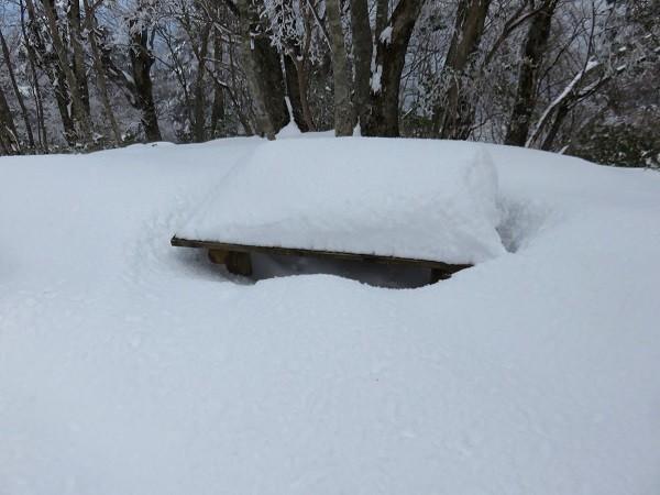 アウトドア座布団マットがないと休憩できない積雪量