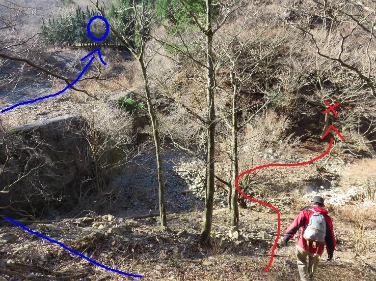 砂防ダムと枯沢ネクタイ尾根への取り付き地点