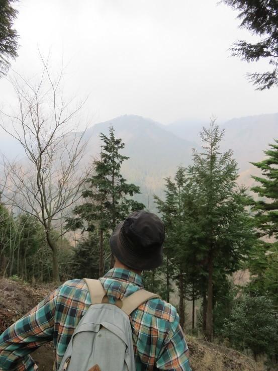 境界尾根の760m峰が見えた
