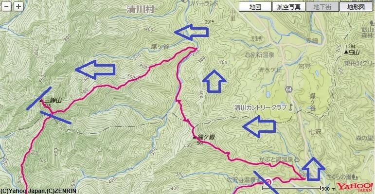 広沢寺温泉から入山し、鐘ヶ岳・宝尾根か大山三峰山の山頂登山ルート
