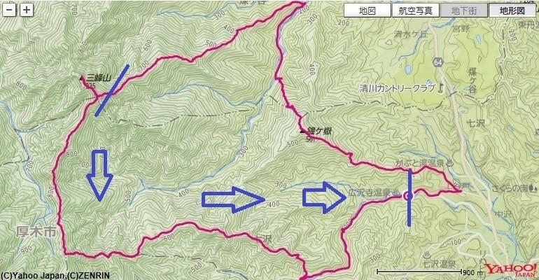 大山周辺のバリエーションルート弁天御髪尾根、梅ノ木尾根、中弁天、弁天岩へのルート、標高差の地図