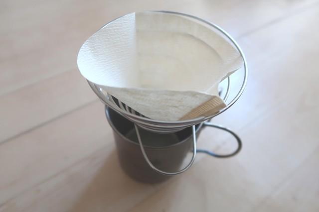コーヒー紙フィルターをバネットにセット