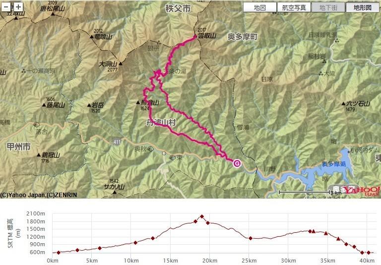 三条の湯でテント泊と雲取山への登山ルート、標高差の地図