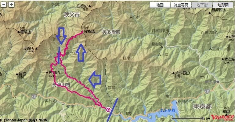 お祭バス停付近から入山し、三条の湯・雲取山の山頂へ登山ルート図