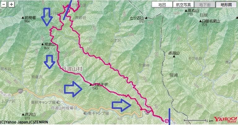 三条の湯からサオラ峠・丹波天平まで距離が長いフラットな道のり