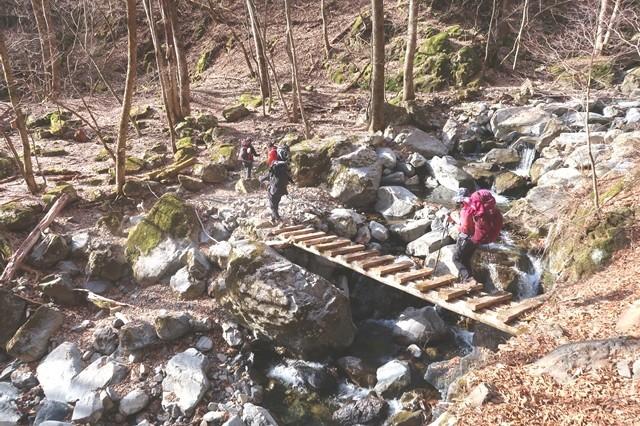 サオラ峠までのルート沢沿い歩き