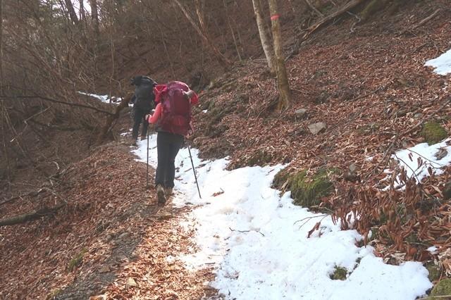 サオラ峠ルート上に残雪