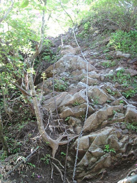 檜洞丸登山道鎖場の様子