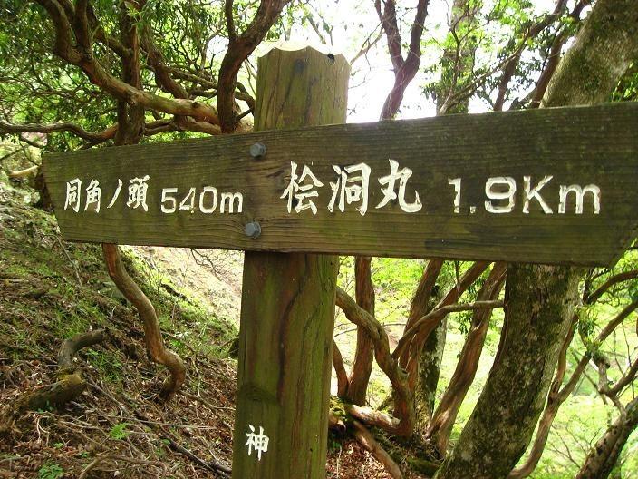 檜洞丸から約2km地点のコルの道標