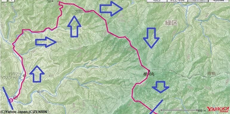 西丹沢自然教室から入山し、用木沢~犬越路避難小屋~大笄~檜洞丸~ツツジ新道分岐付近登山コース・おすすめルートの標高差