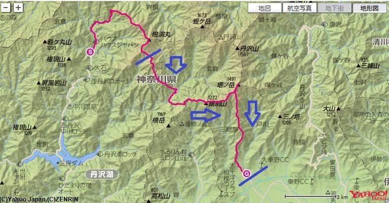 丹沢大石山・同角山稜登山のルート、標高差地図