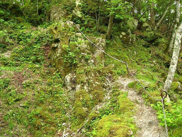 鍋割山の登山コース難路