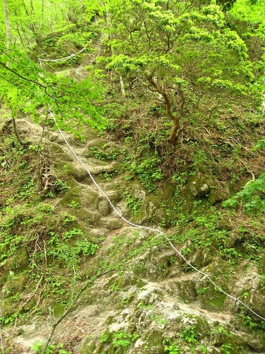 鍋割山登山の長い鎖場