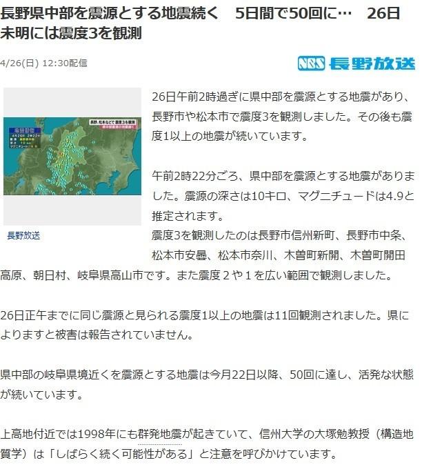 長野県中部群発地震ニュース