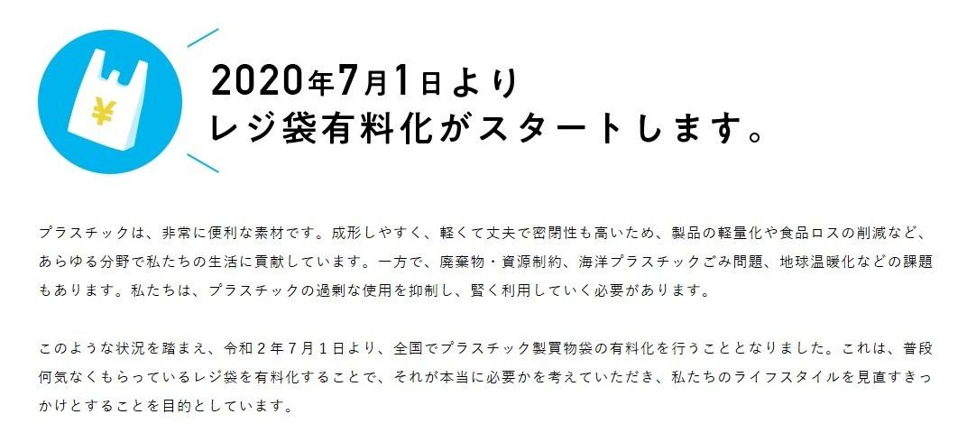 レジ袋の完全有料化の時期2020円7月1日よりスタート