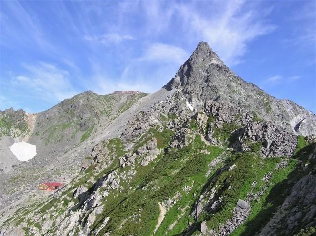 山小屋と槍ヶ岳