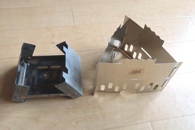 エスビットの固形燃料ストーブと収納の大きさ比較