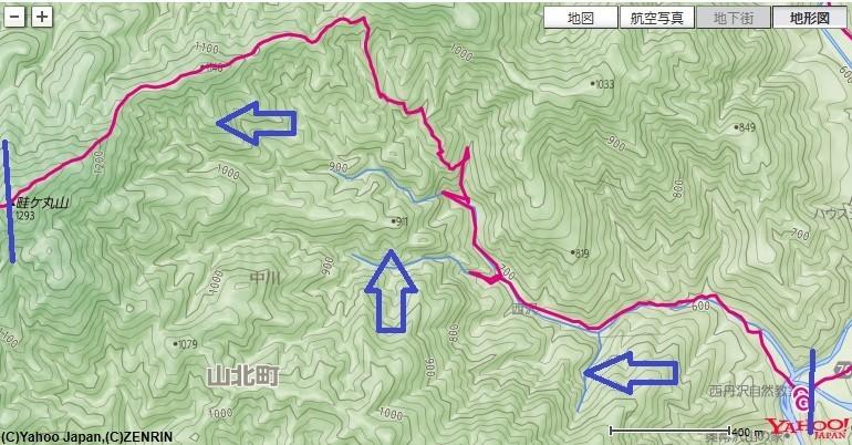 本棚・下棚から畦ヶ丸への登山コースと標高差のアップ地図