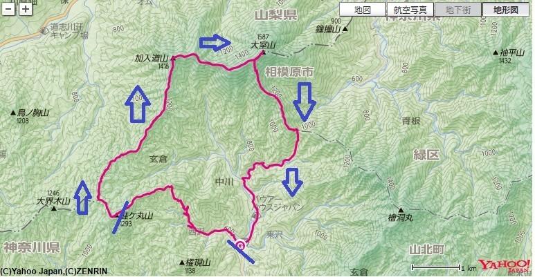 モロクボ沢ノ頭から白石峠~加入道山(避難小屋)~大室山~犬越路~用木沢への登山ルート、標高差の地図