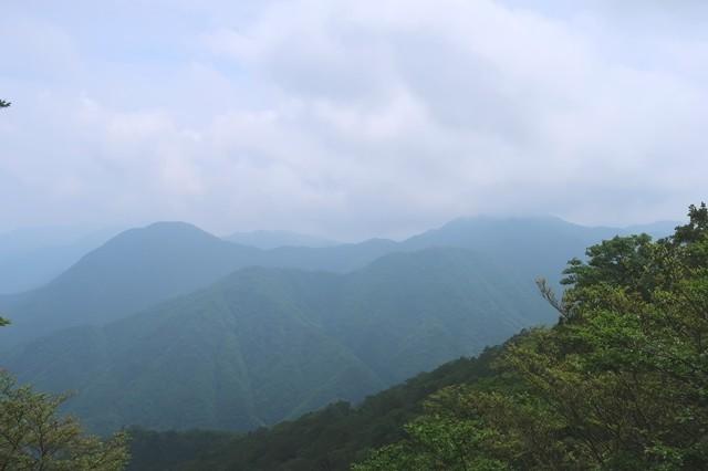 左のピークが権現山、右奥の雲で隠れている山が畦ヶ丸山頂