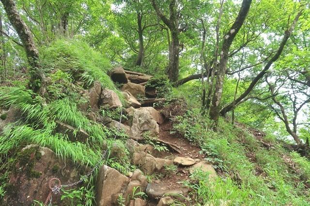 大室山から犬越路登山道の鎖場