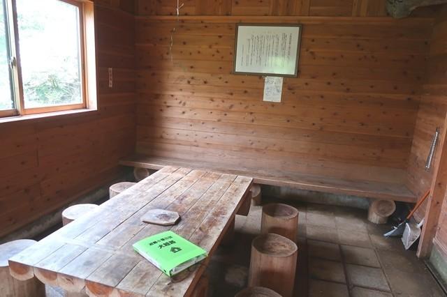 犬越路避難小屋の内部土間にはベンチとテーブル