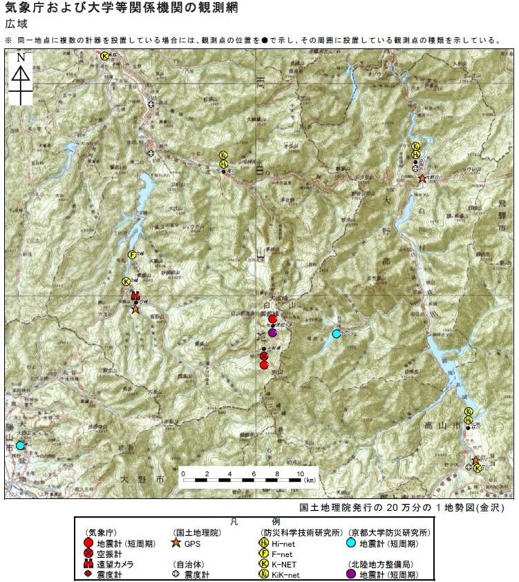 白山周辺に設置されている火山観測地震計等の観測機器の位置と数