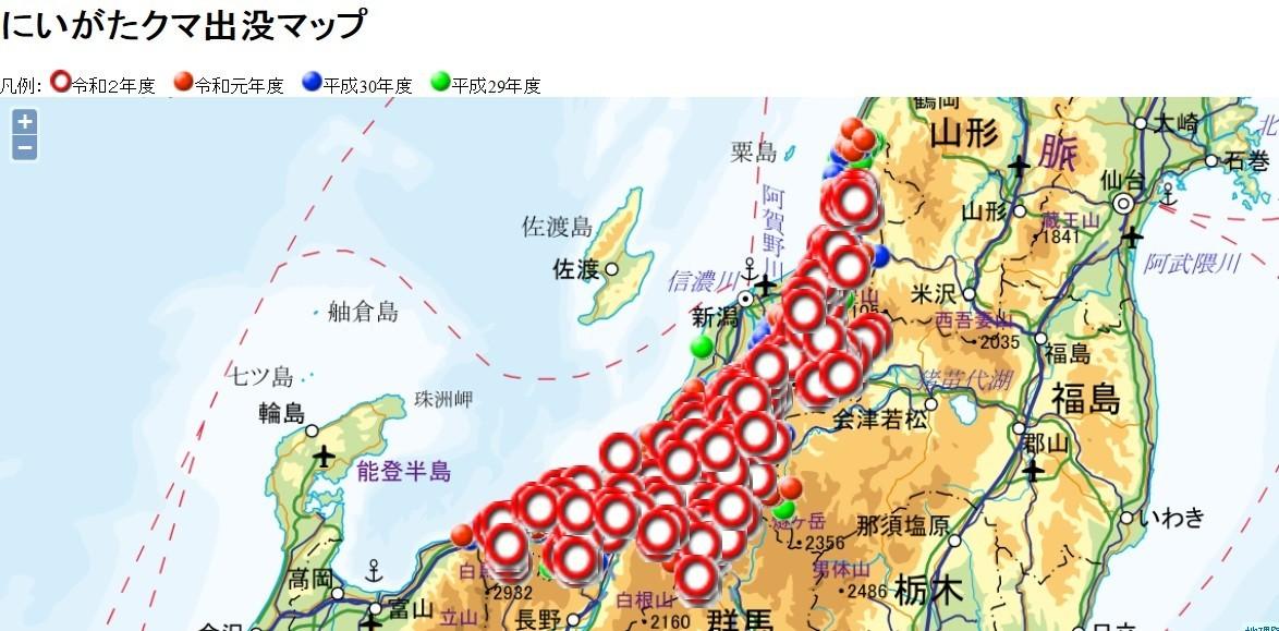 新潟県熊出没マップ