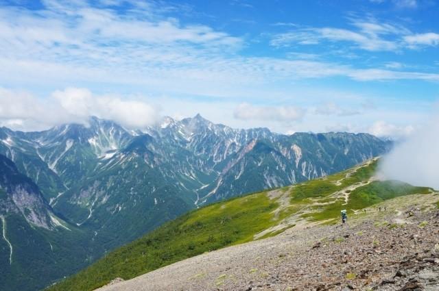 高山で登山